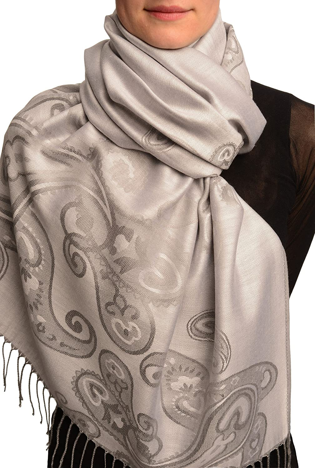 Joined Paisleys On Silver Grey Pashmina Feel With Tassels - Scarf