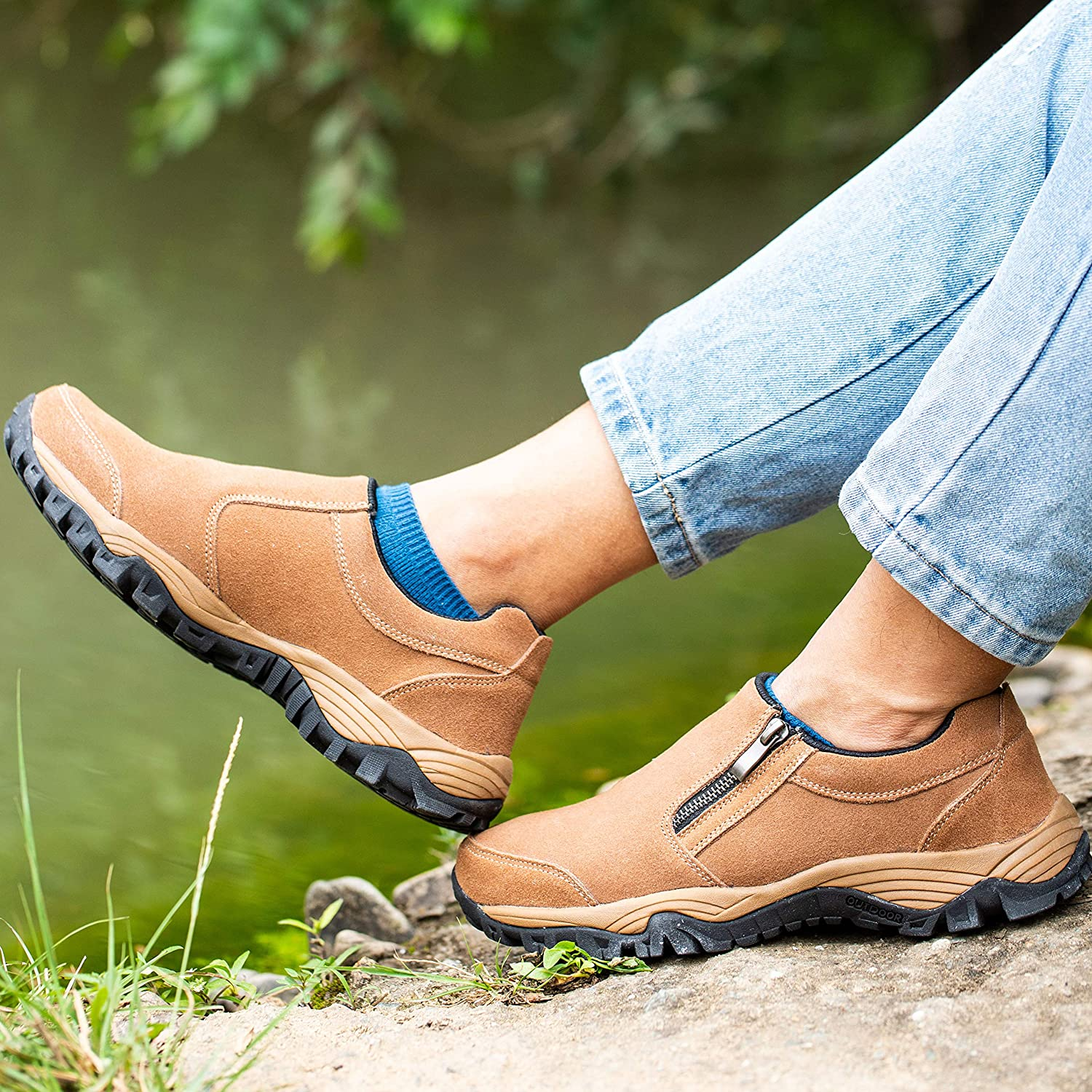 SILENTCARE Mens Loafers Casual Shoes,Breathable Lightweight Zipper Slip On Sneakers, Hiking Shoes for Outdoor Trail Trekking
