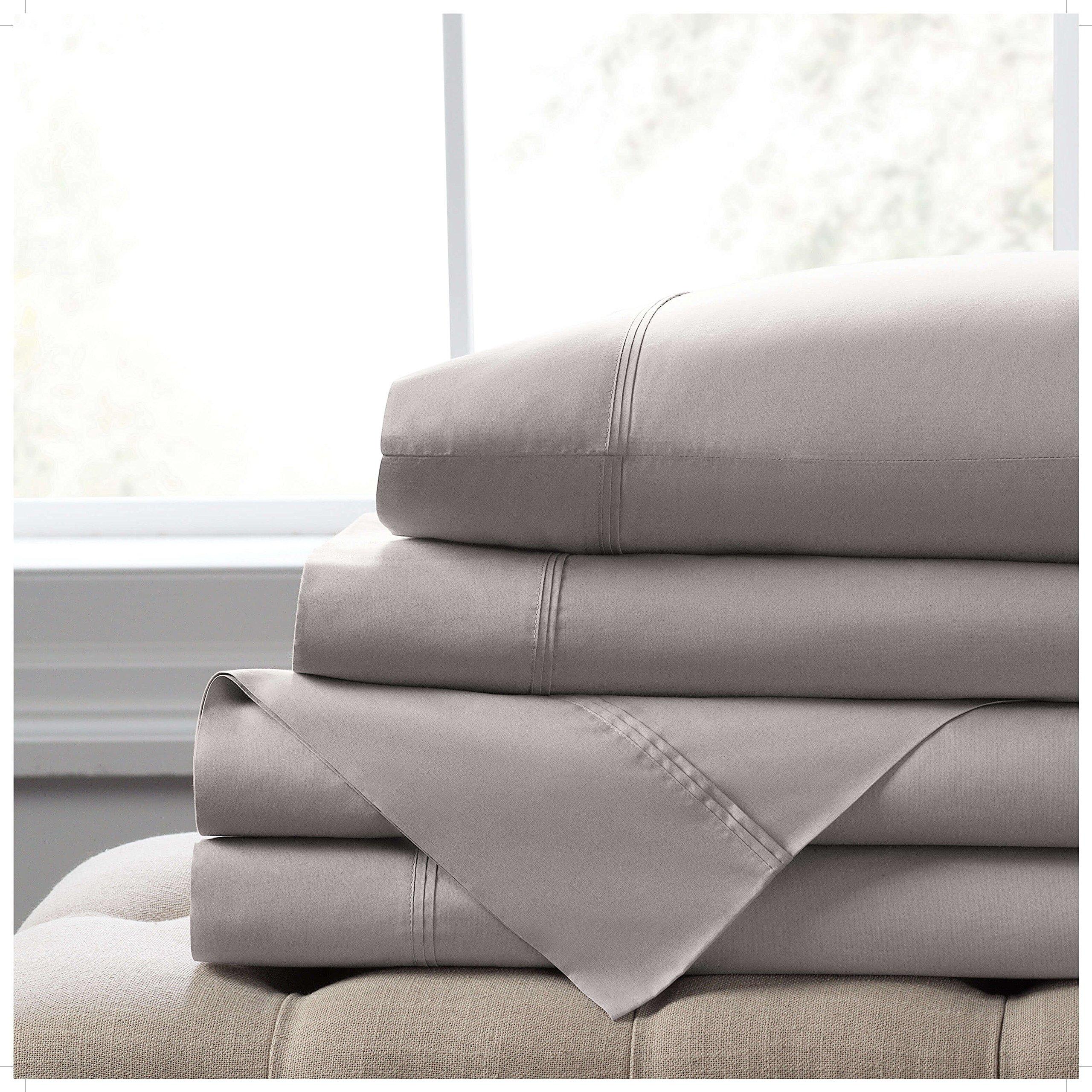 Elizabeth Arden Light-Weight 100% Long-Staple Cotton Percale Set of 2 Pillowcases - Ultra-Fine Natural Pure 300 Thread Count – Crisp & Cool - Standard/Queen Pillowcase Set of 2 - Grey