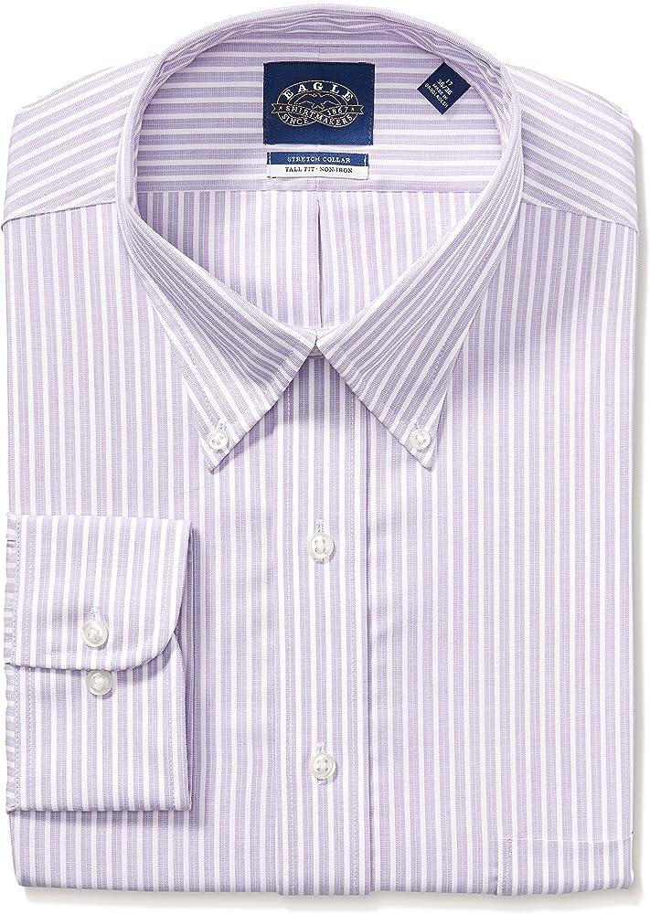 Eagle - Camisa de vestir para hombre, talla grande, cuello elástico, diseño de rayas - Morado - 51 cm cuello 89/ 91 cm manga (4XL): Amazon.es: Ropa y accesorios