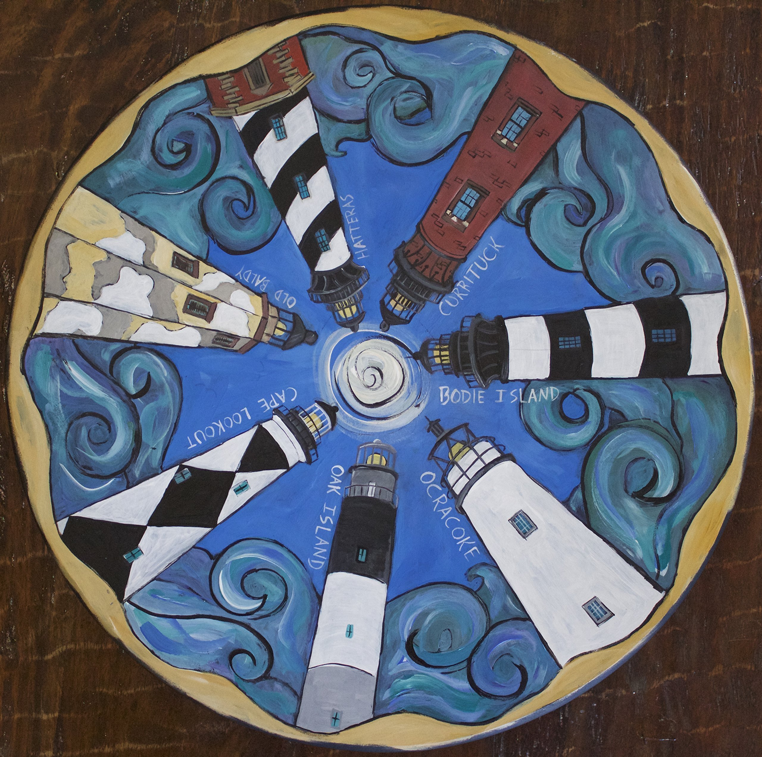 'Lighthouses of North Carolina', Wooden Lazy Susan by NC Folk Artist, Kristen Feighery