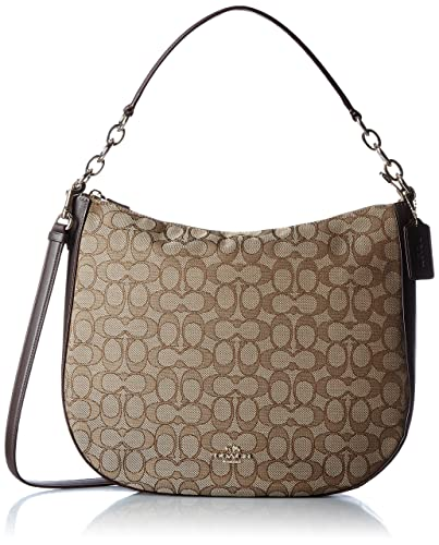 9f654a2557 Amazon.com  COACH Women s Chelsea 32 Hobo in Signature Li Khaki Brown One  Size  Shoes