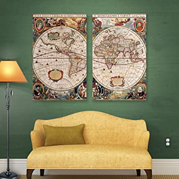 Amazon artwall 2 piece sam dunns a new and accurate map of artwall 2 piece quotsam dunns a new and accurate map of the worldquot gumiabroncs Choice Image