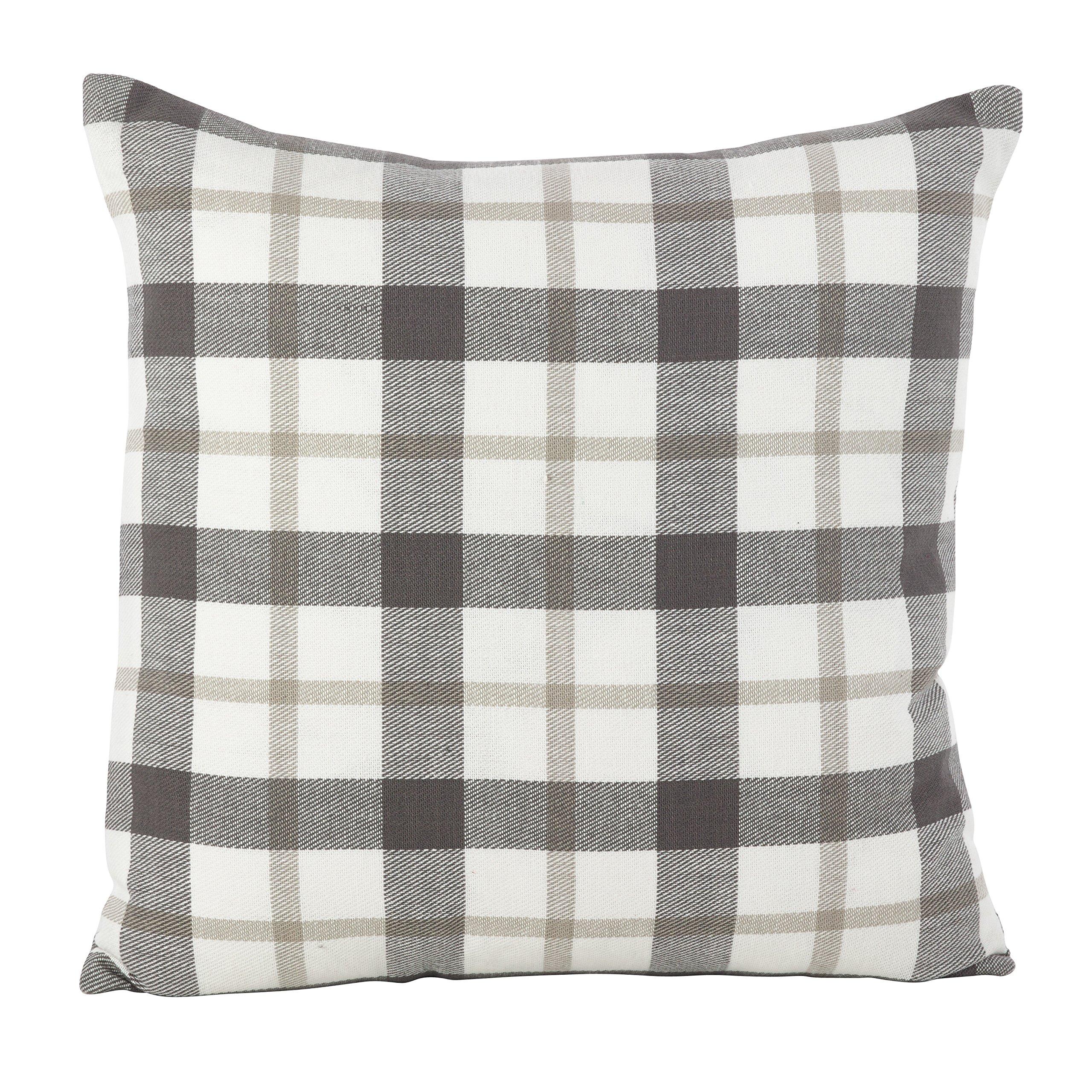 SARO LIFESTYLE Classic Plaid Pattern Cotton Down Filled Throw Pillow, 20'' x 20'', Grey