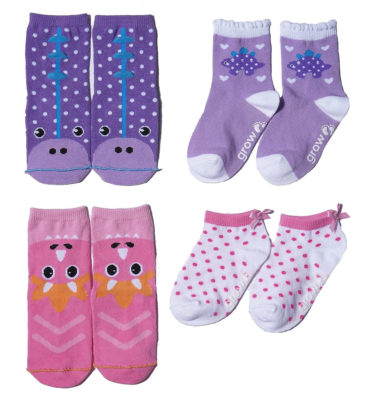 Growbabygrow Baby Toddler Kids Dino Ladybug Bumble Bee Cotton Crew Socks with Non skid