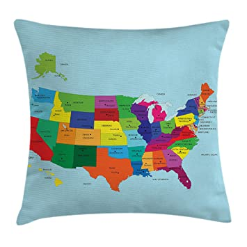 Amazon Com Lunarable Usa Throw Pillow Cushion Cover Educational