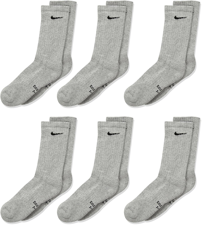 84edaaab656f1 NIKE Kids' Unisex Everyday Cushion Crew Socks (6 Pairs), Dark Grey  Heather/Black, Medium
