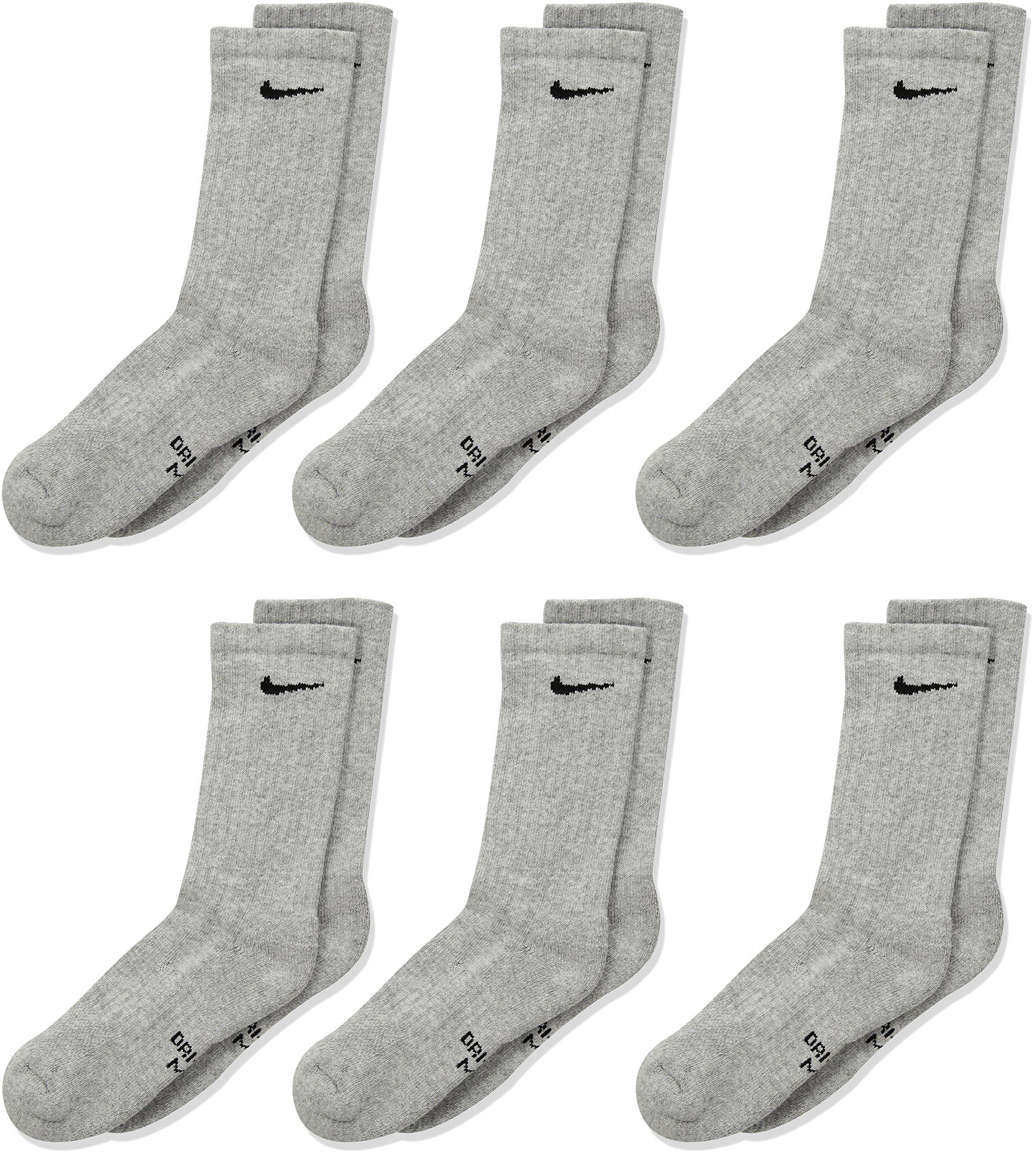 Nike Kids' Performance Cushioned Crew Training Socks (6 Pair), Girls & Boys' Socks with Cushioned Comfort & Dri-FIT Technology, Dark Grey Heather/Black, M by Nike