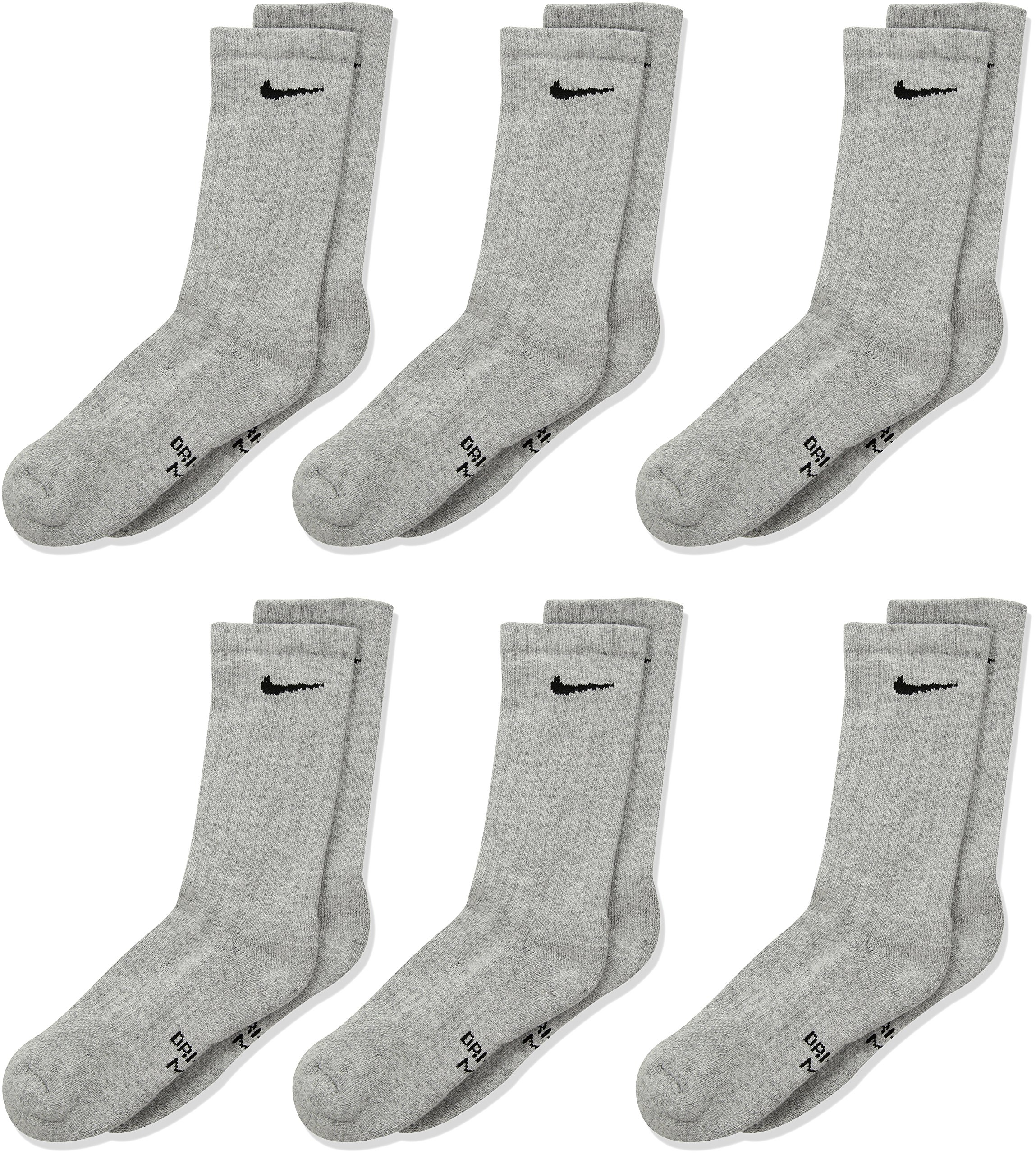 NIKE Kids' Unisex Everyday Cushion Crew Socks (6 Pairs), Dark Grey Heather/Black, Small