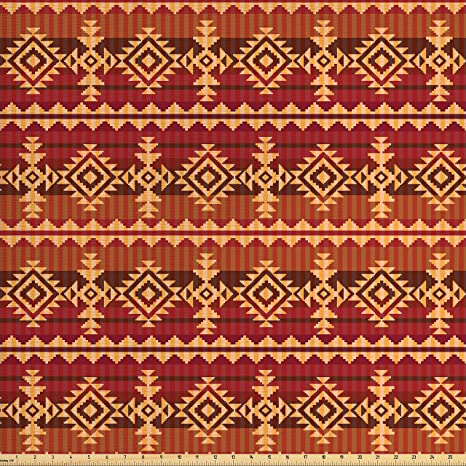 Amazon Com Ambesonne Mexican Fabric By The Yard Ancient Aztec
