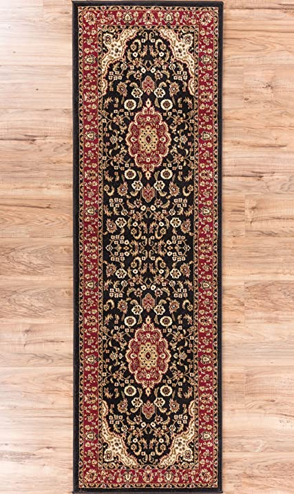 Noble Medallion Black Persian Floral Oriental Formal Traditional Rug 3x10 27quot X