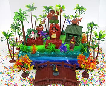 Amazoncom MOANA Birthday Cake Topper Set Featuring Various
