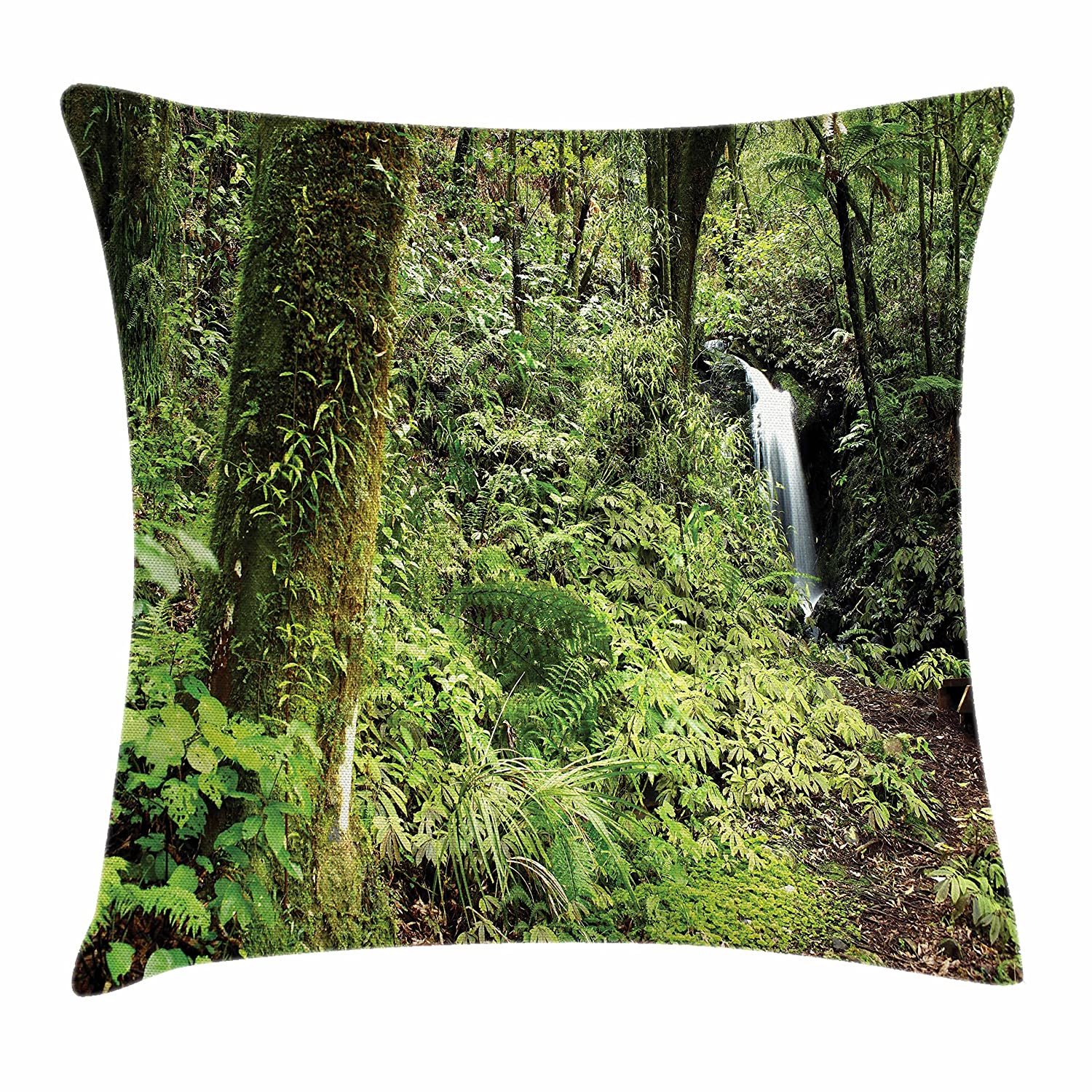 Amazon Com Lunarable Woodland Throw Pillow Cushion Cover Waterfall