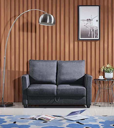 US Pride Furniture Contemporary Fabric Storage Loveseat, Dark Grey