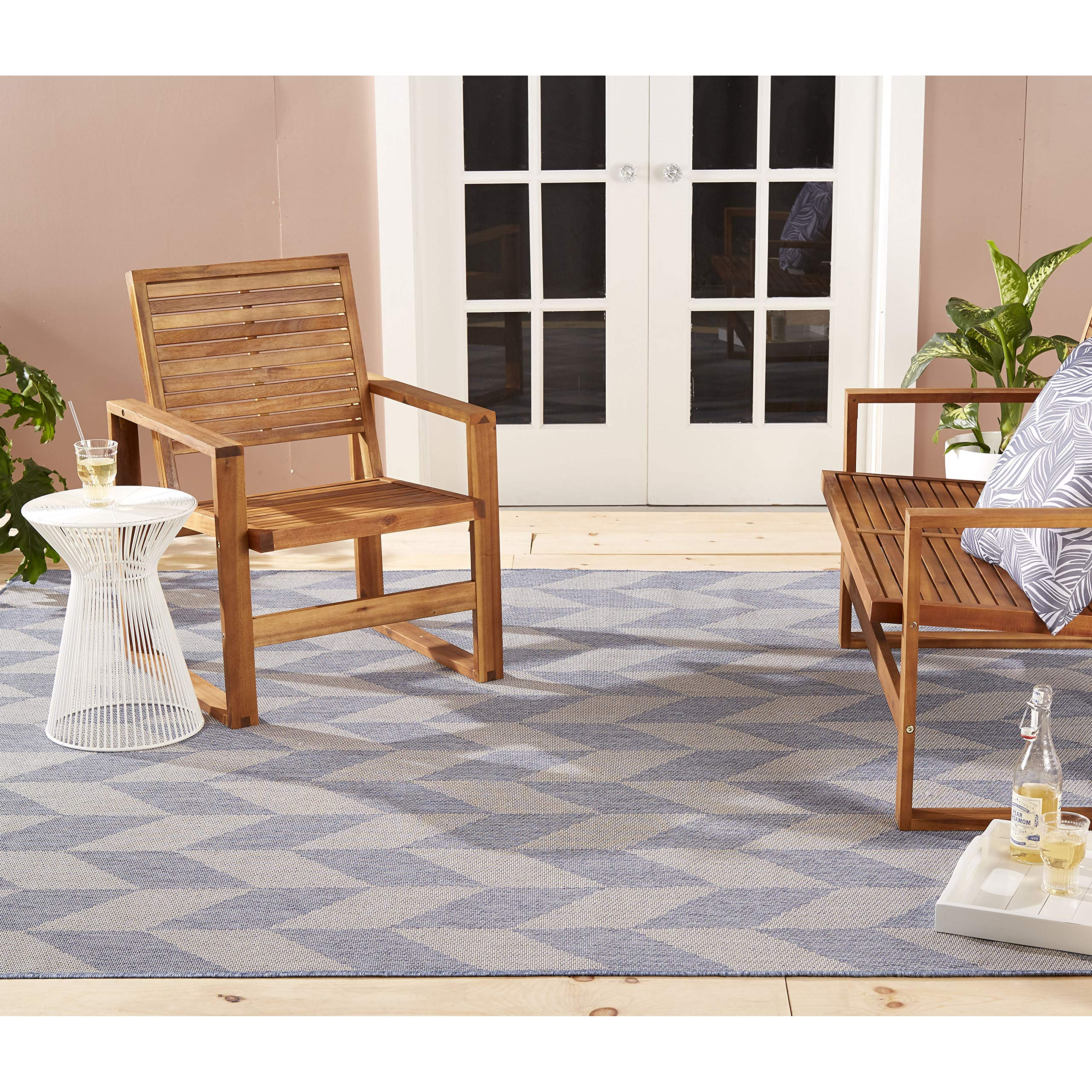 Home Dynamix Nicole Miller Patio Country Calla Indoor/Outdoor Area Rug 7'9''x10'2'', Modern Geometric Blue/Gray