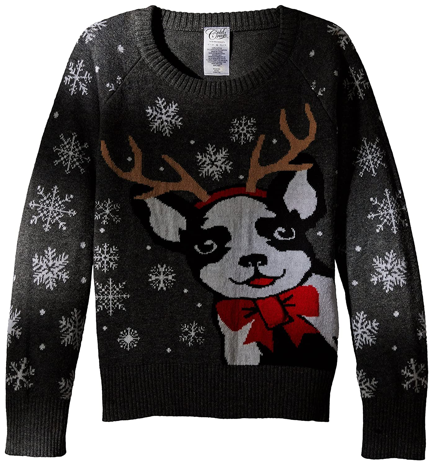 Cold Crush Girls' Antler Puppy with Bow Holiday Sweater Evy Children's Apparel EV5231895 EV1231896