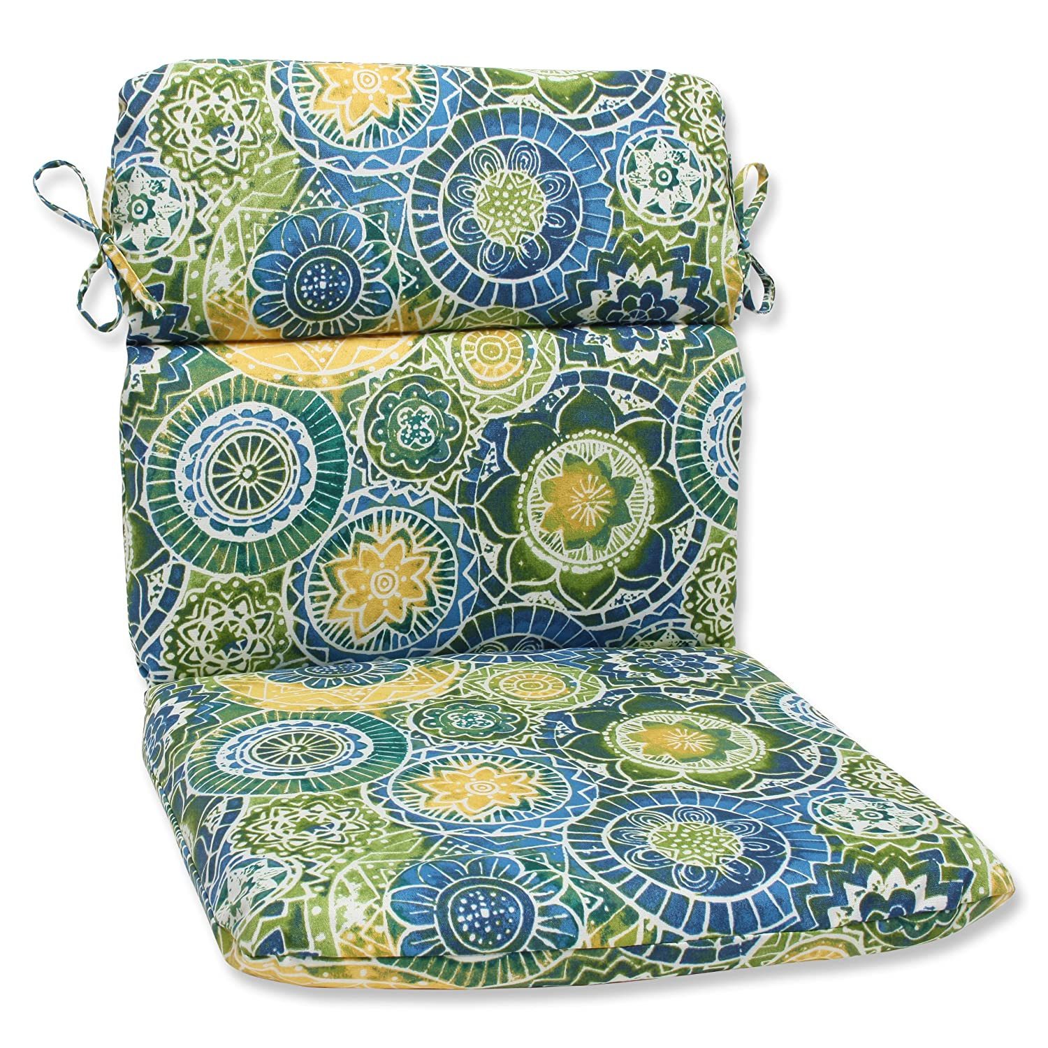Pillow Perfect Outdoor Omnia Lagoon Rounded Corners Chair Cushion