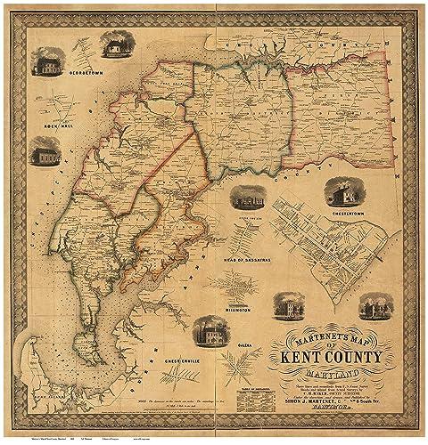 Amazon.com: Kent County, Maryland 1860 by Simon J. Martenet - Wall on kent maryland map, kent great britain, kent washington, grand rapids map, kent zip map, kent uk, kent street map, kent elevation map, kent united kingdom map, kent island map, kent co township map,