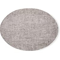 modern-twist Linen Pattern, Chocolate Color Silicone Oval Placemats for Dining and Decoration, Modern Design Non-Slip…