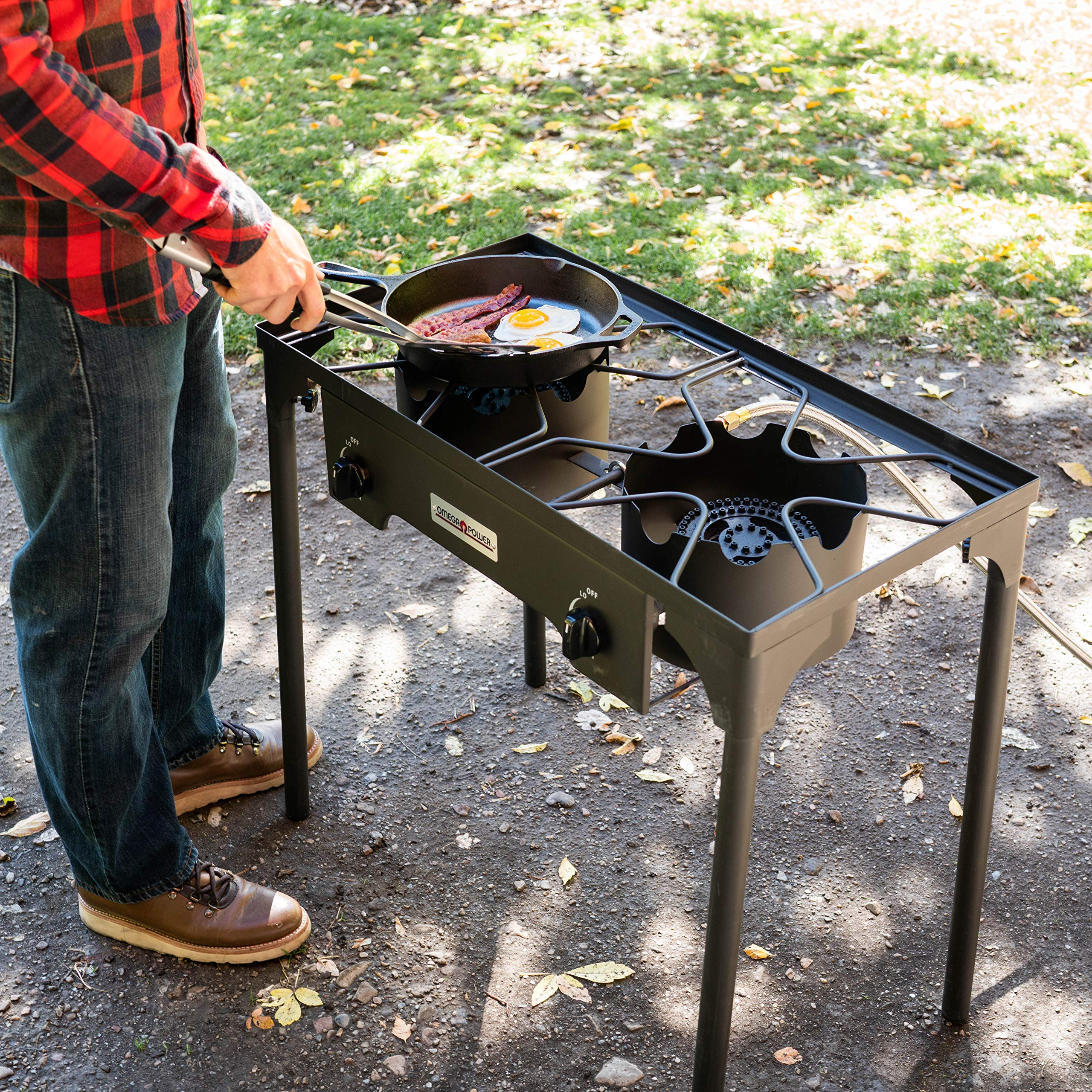 Leaderware High Pressure Gas Cooking Stove with 2 Burners, Outdoor Camping Kitchen Accessories by Leaderware (Image #6)