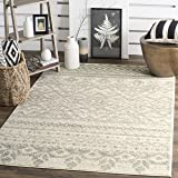 Safavieh Adirondack Collection ADR107B Ivory and Silver Rustic Bohemian Square Area Rug (8' Square)