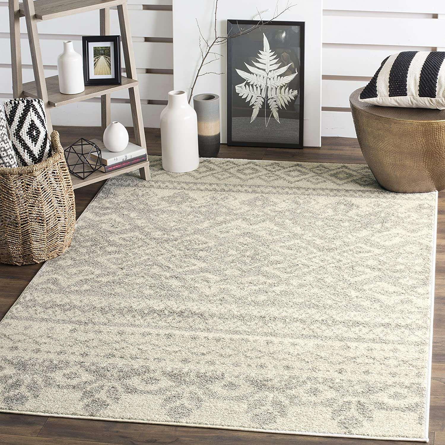Amazon.com: Safavieh Adirondack Collection ADR107B Ivory And Silver Rustic  Bohemian Area Rug (8u0027 X 10u0027): Kitchen U0026 Dining