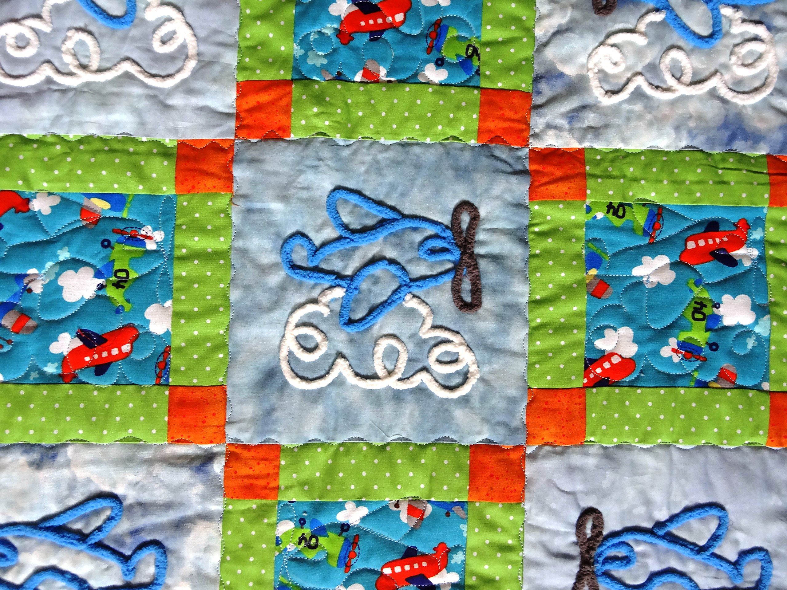 Chenille Airplanes on Adorable Baby Quilt 40 x 48 Inches