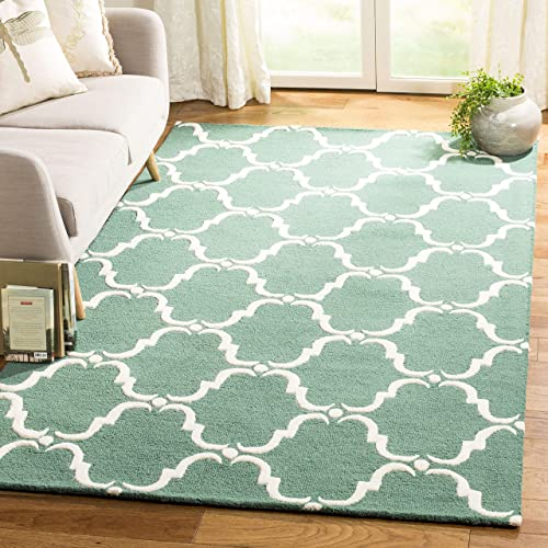 Safavieh Cambridge Collection CAM703T Handcrafted Moroccan Geometric Teal and Ivory Premium Wool Area Rug 4 x 6