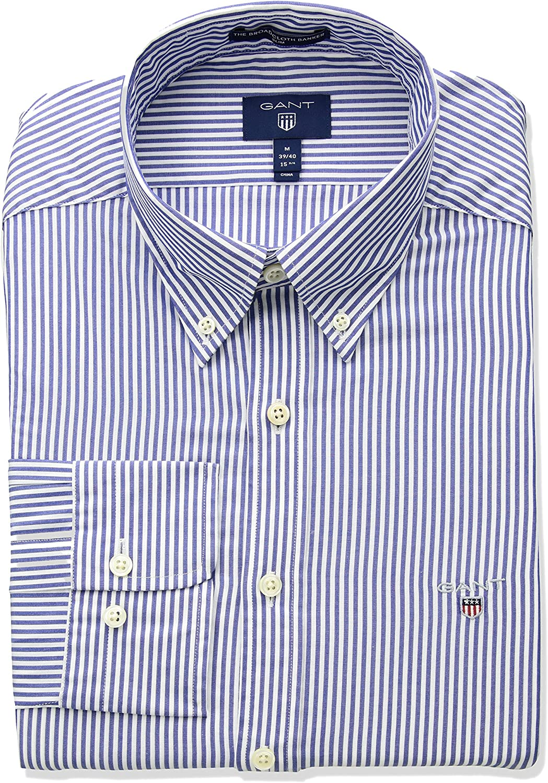 GANT Mens The Broadcloth Banker Stripe Slim Fit Button Down Shirt