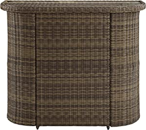 Crosley Furniture CO7221-WB Bradenton Outdoor Wicker Glass Top Bar, Brown