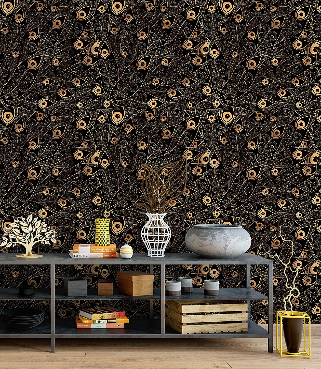 Amazon Com Costacover Self Adhesive Removable Wallpaper With Gold Black Peacock Feathers Temporary Peel And Stick Wall Mural Wall Decor For Home Cc181 Handmade