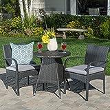 Portola Outdoor 3 Piece Grey Wicker Bistro Set with Cushions