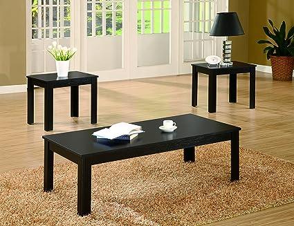 Amazon.com: Coaster Casual Black Three Piece Occasional Table Set ...