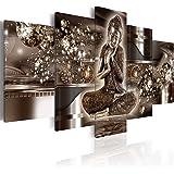 murando Impression sur toile 200x100 cm - Grand format - XXL - 3 couleurs au choix- 5 pieces – Image sur toile – Images – Photo – Tableau - motif moderne - Décoration - tendu sur chassis - Bouddha h-A-0053-b-n 200x100 cm
