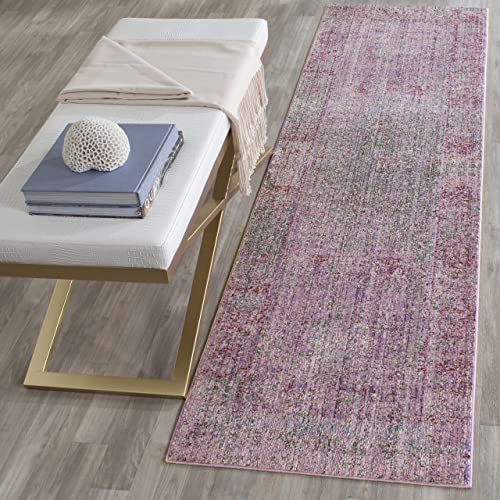 Safavieh Valencia Collection VAL203N Lavender and Multi Distressed Watercolor Silky Polyester Area Rug 2 x 3