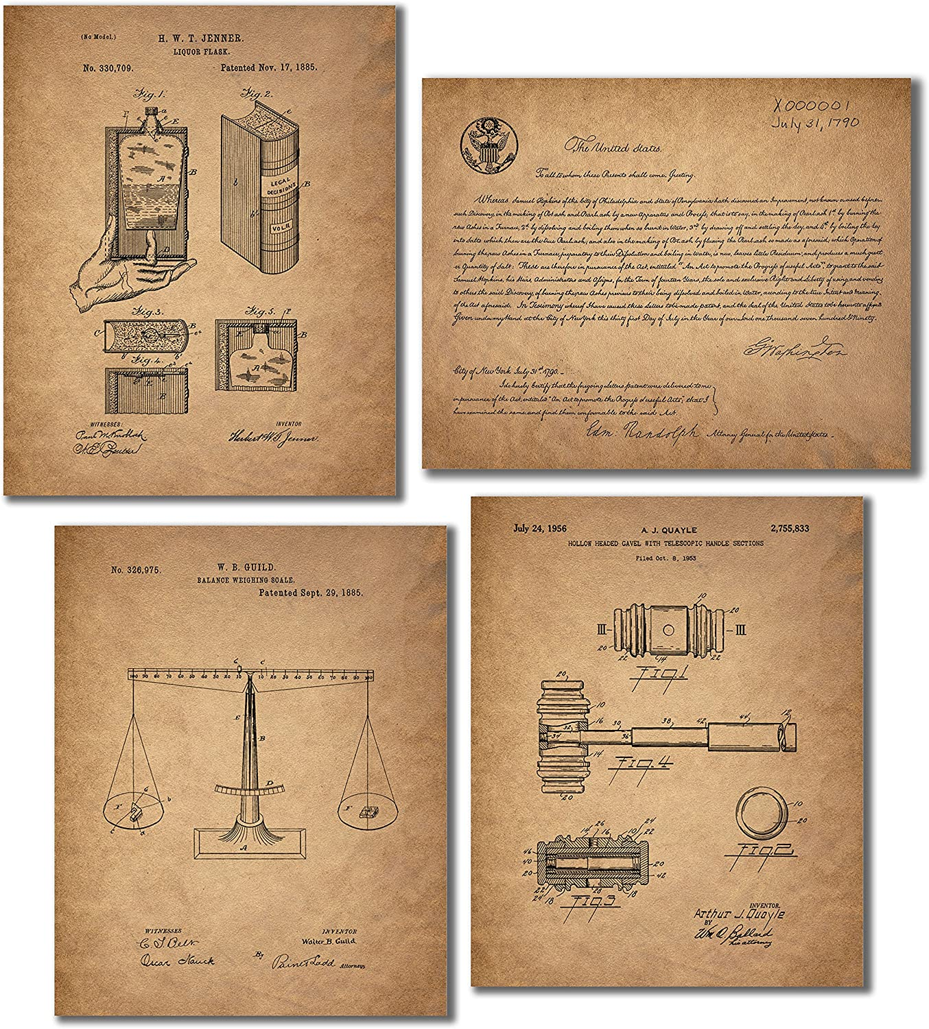 Lawyer - Paralegals - Legal Assistants Patent Wall Art Prints - Set of 4 Vintage Photos