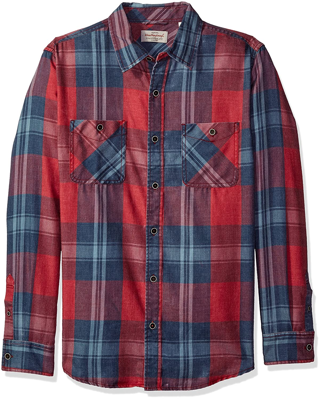Weatherproof Vintage Mens Washed Plaid Shirt