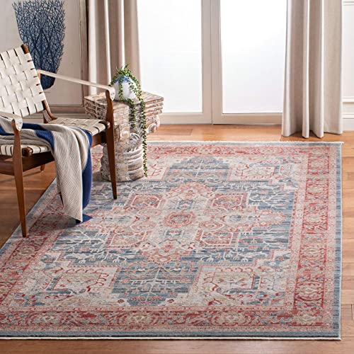 Safavieh Kenitra Collection KRA659M Vintage Distressed Fringe Area Rug, 10 x 14 , Blue Red