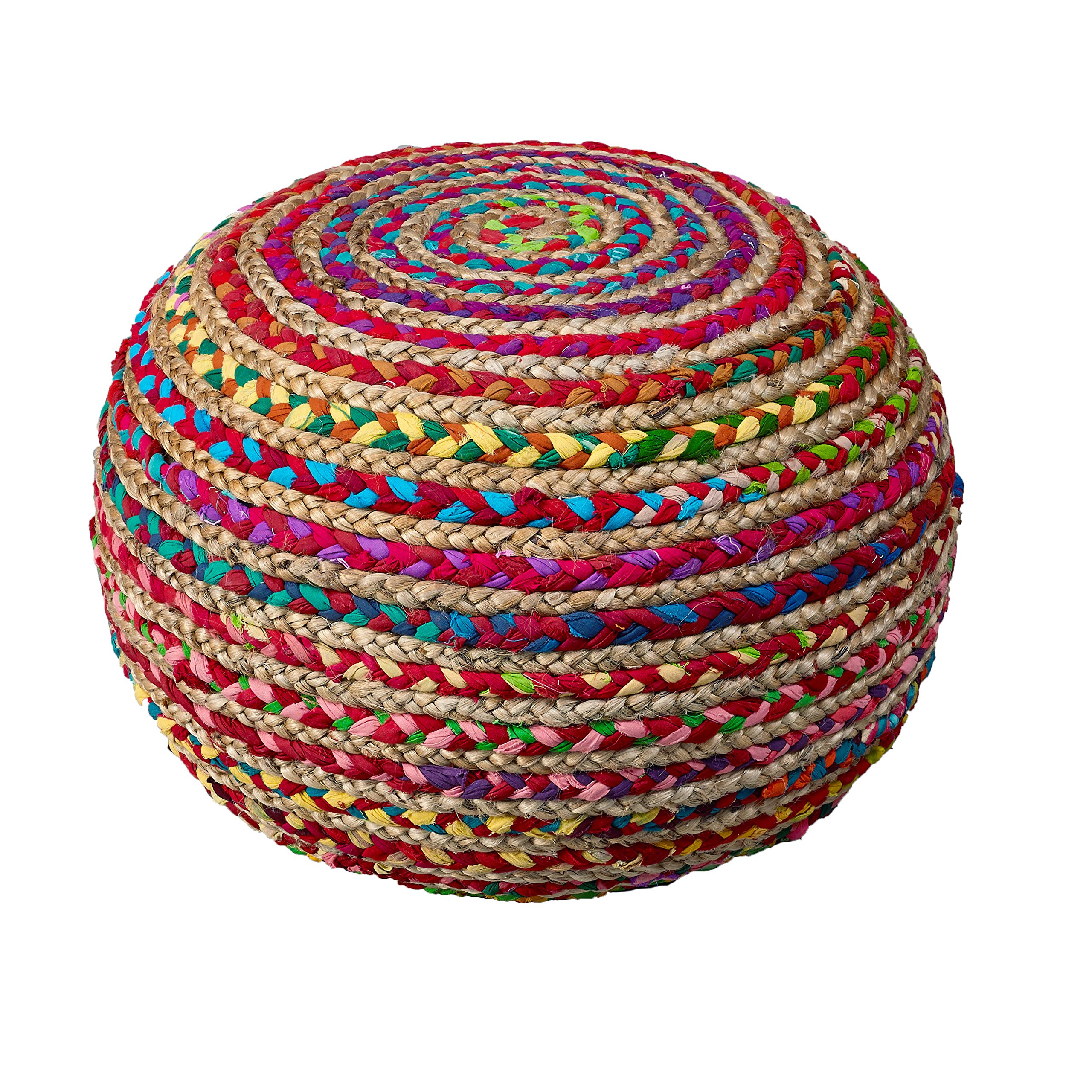 L.R. Resources Boho Beauty Braided Pouf Ottoman, 14'' x 20'', Multicolor by LR Resources