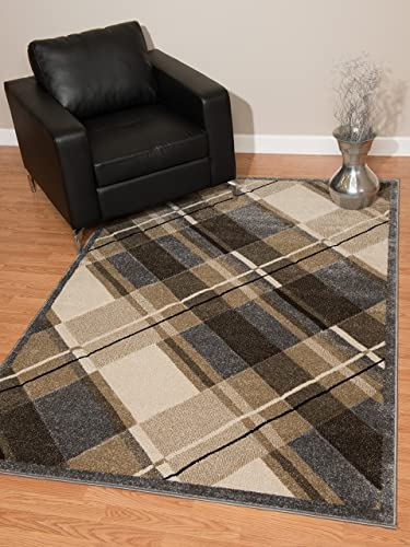 United Weavers of America Townshend Collection Journey Modern Area Rug, 5-Feet 3-Inch by 7-Feet 6-Inch, Grey