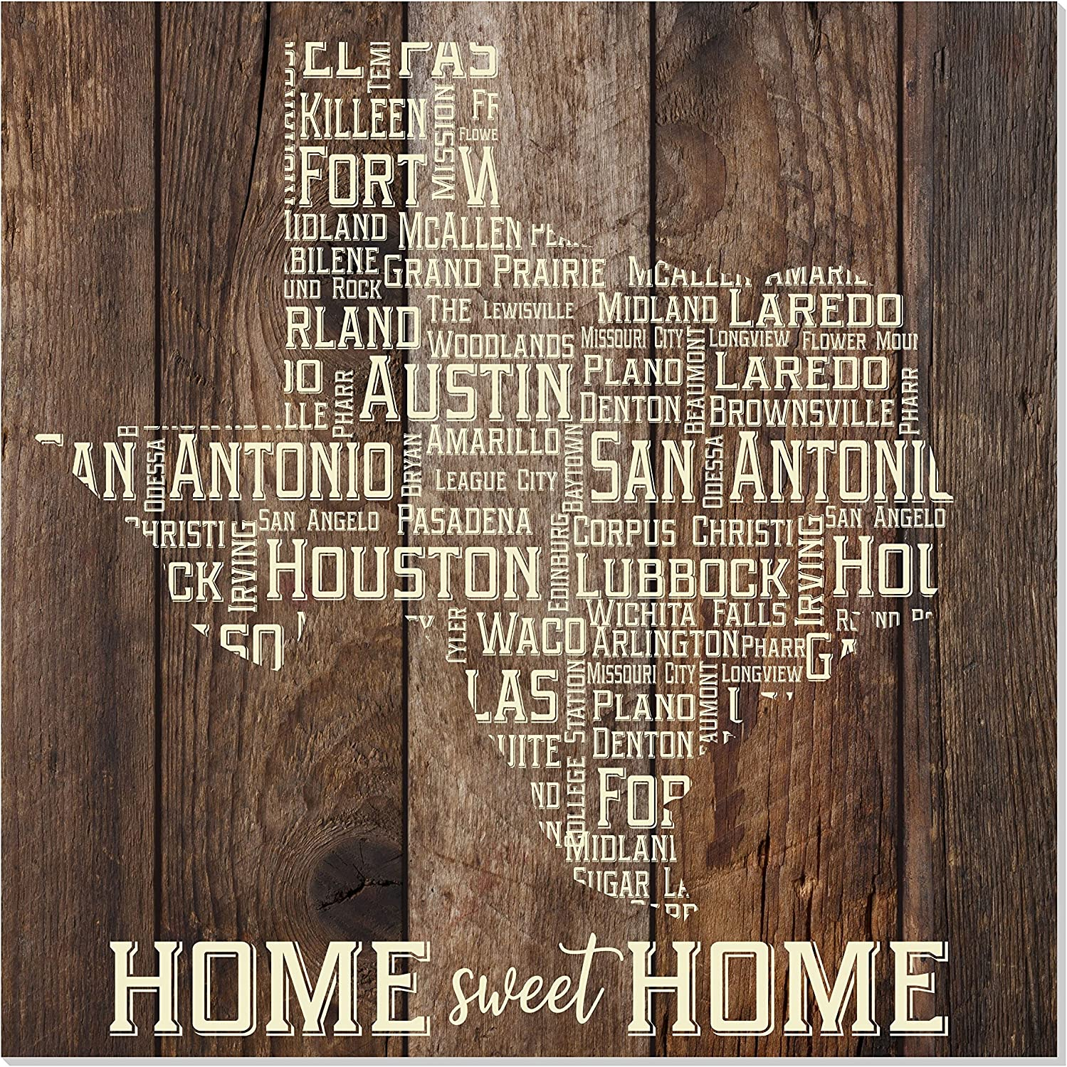 MRC Wood Products Texas Cities State Shape Rustic Wall Sign 12x12 (Brown)