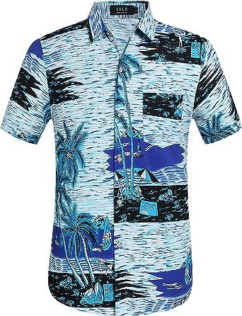 SSLR Camisa Playera Estilo Hawaiana de Manga Corta de Verano para Hombre