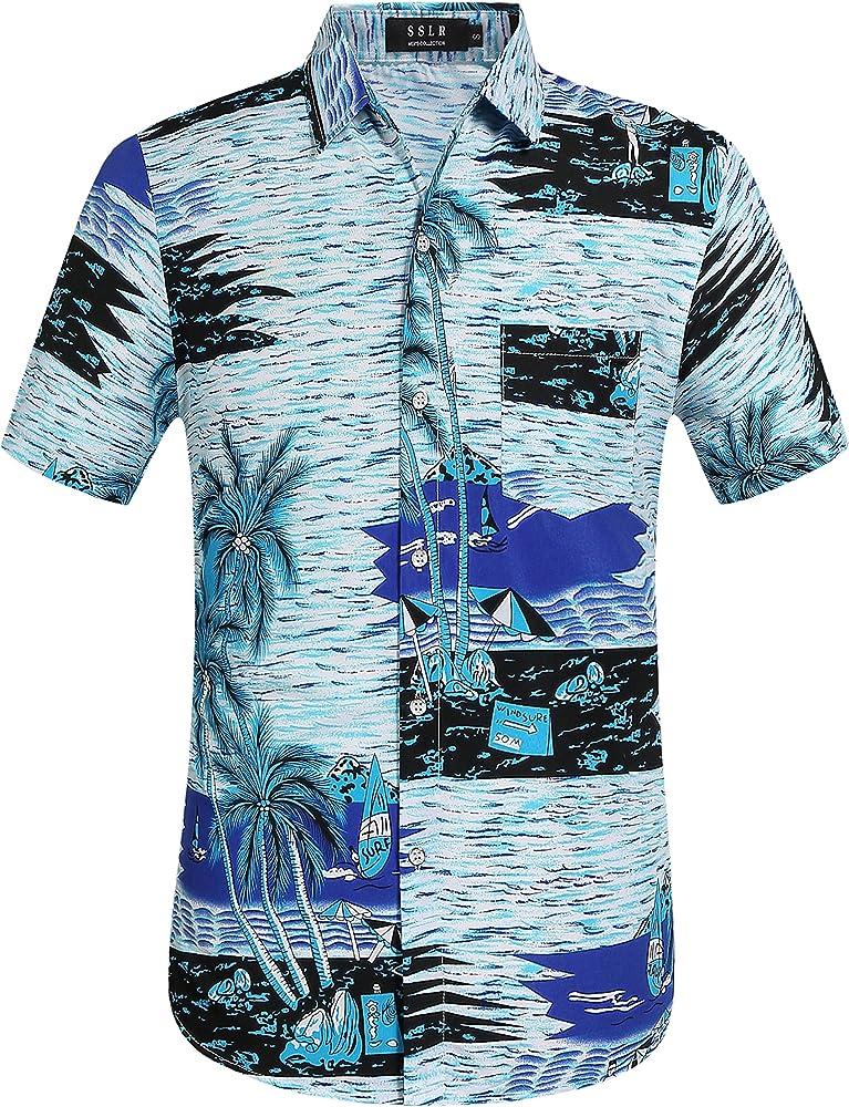 SSLR Camisa Playera Estilo Hawaiana de Manga Corta de Verano para Hombre (Small, Azul): Amazon.es: Ropa y accesorios