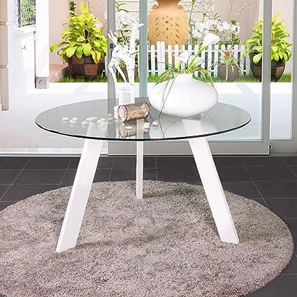 Mesa de comedor redonda de cristal TRIPODE con patas metal - Blanco ...