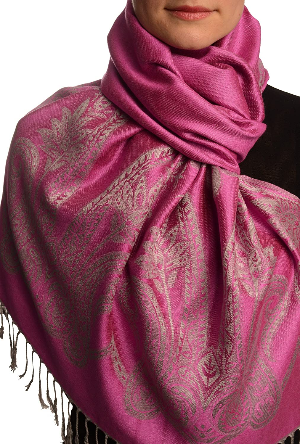 Large Paisley On Pink Pashmina Feel With Tassels - Scarf