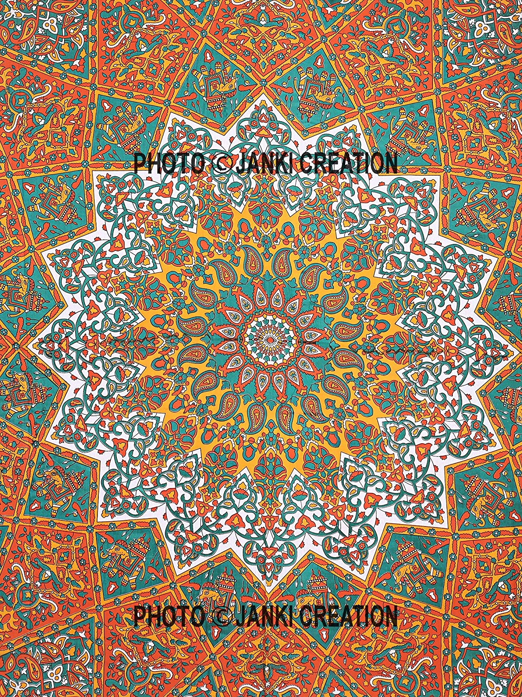 Mandala fen/être Porte Coque Orange /étoile /él/éphant murale /à suspendre Rideau Lot de 2 panneaux Mandala Vitrage Paire 82 Longueur Lot de 2