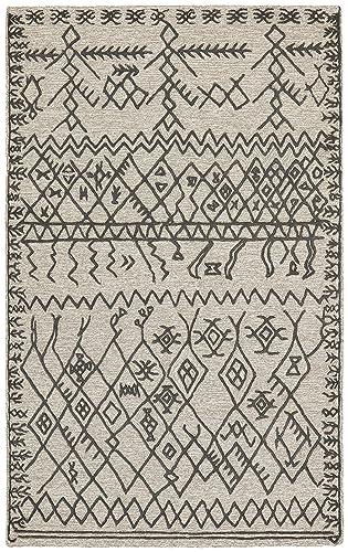 Rivet Wool Rug, 5 x 8 , Gray, Charcoal