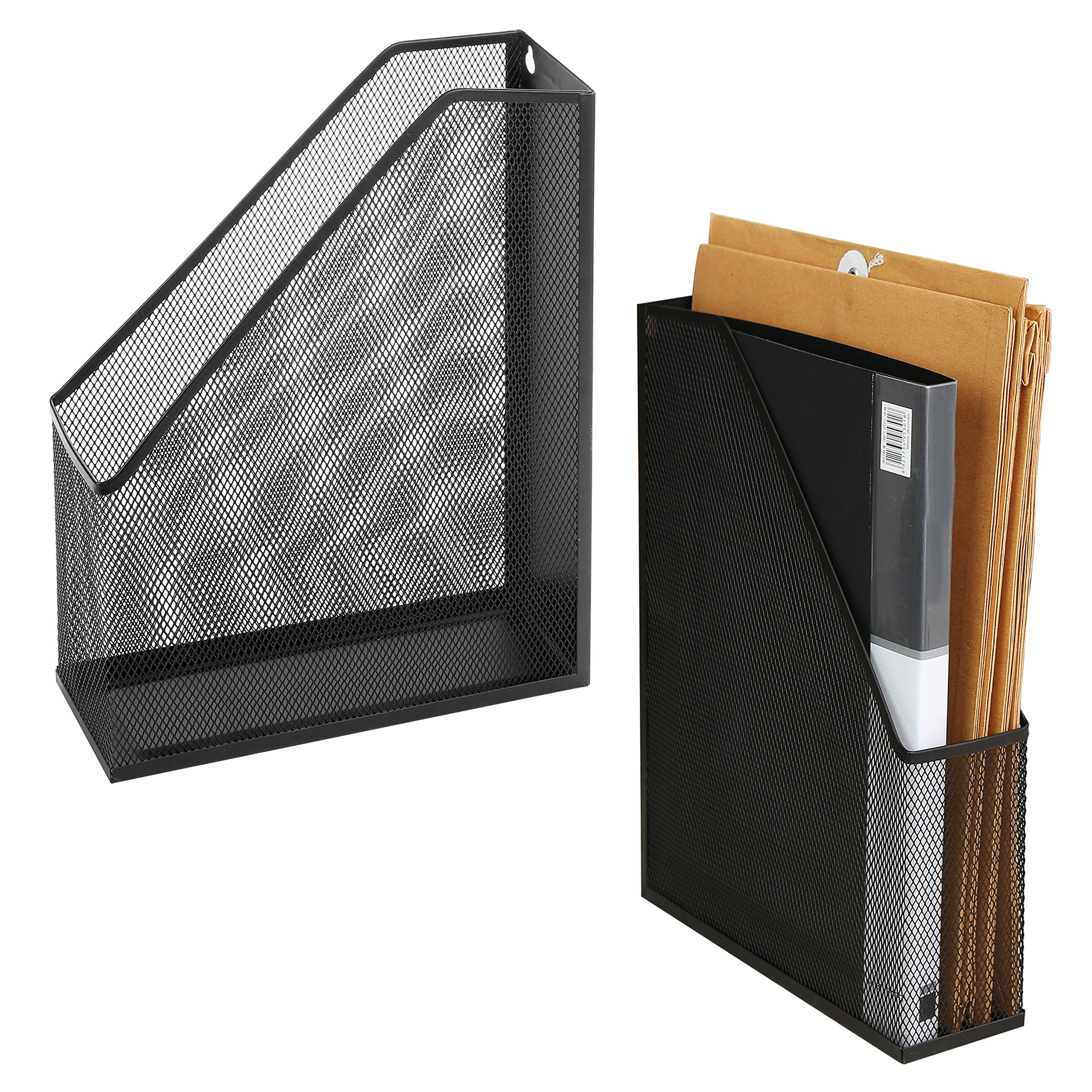 Wire Mesh Wall Mounted or Freestanding Document Rack, Magazine and File Holder, Set of 2, Black
