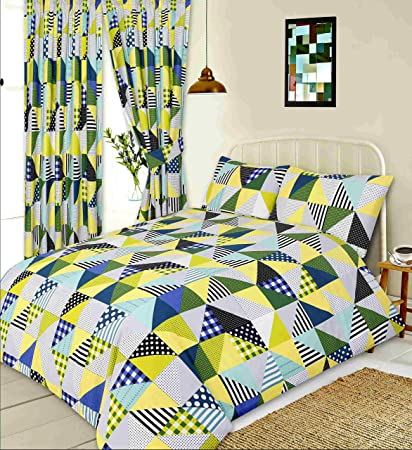 Men Only Double Bed Geo Patchwork Lime Duvet Quilt Cover Set Geometric Shapes Squares Triangles Gingham Check Polka Dot Spots Lines Stripes Green Yellow Cream Grey Blue Amazon Co Uk Kitchen Home