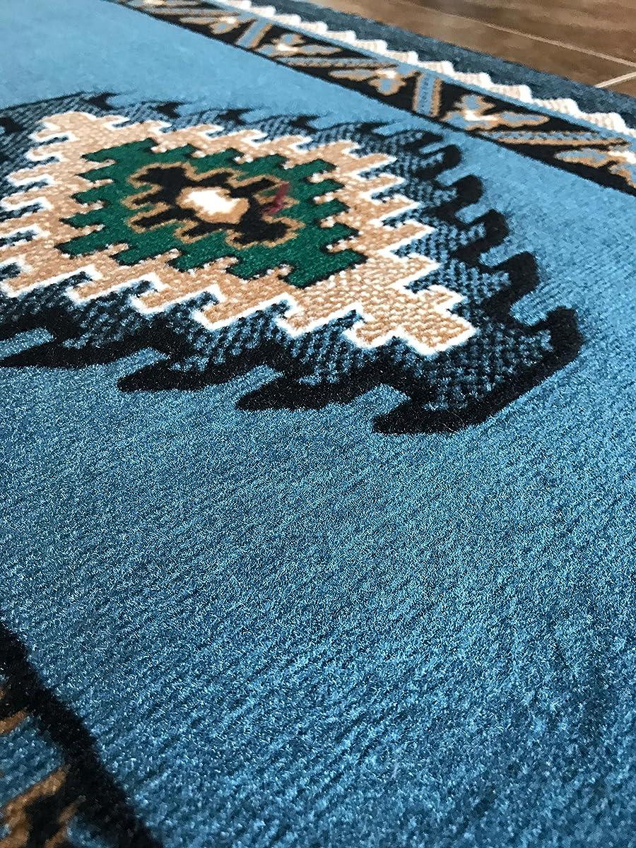 Kingdom Southwest Native American Runner Area Rug Blue & Green Design D143 (2ft.X7ft.)